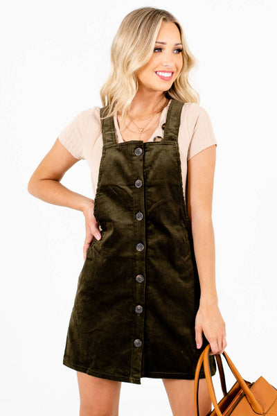 Olive Green Corduroy Material Boutique Mini Dresses for Women