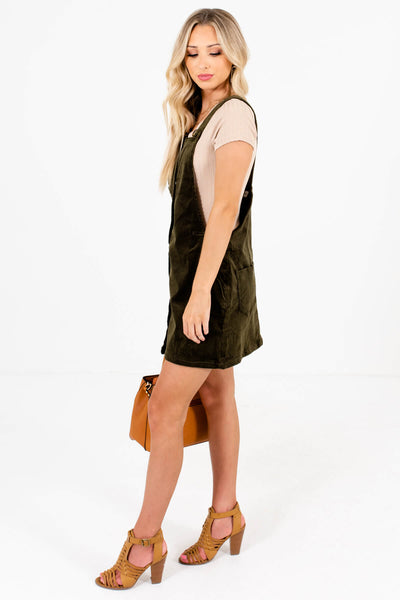 Olive Green Boutique Mini Dresses with Pockets for Women