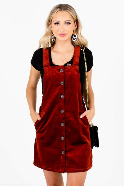 Rust Red Corduroy Material Boutique Mini Dresses for Women
