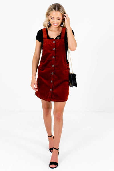 Rust Red Cute and Comfortable Boutique Mini Dresses for Women