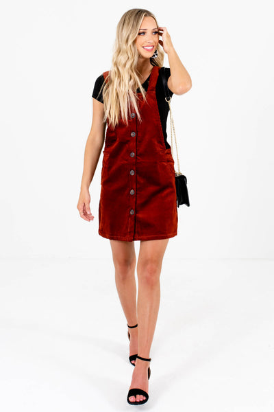 Rust Red Straight Silhouette Boutique Mini Dresses for Women