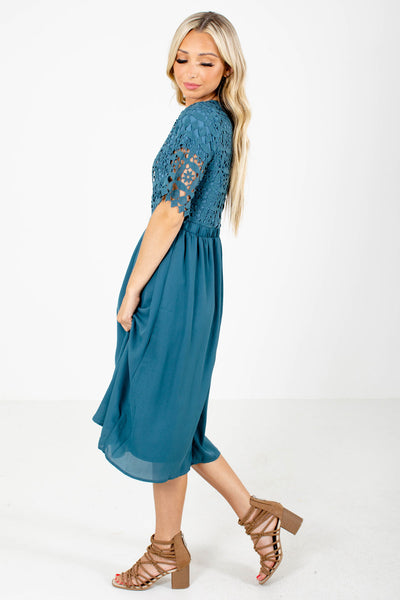 Blue Cute and Comfortable Boutique Midi Dresses for Women