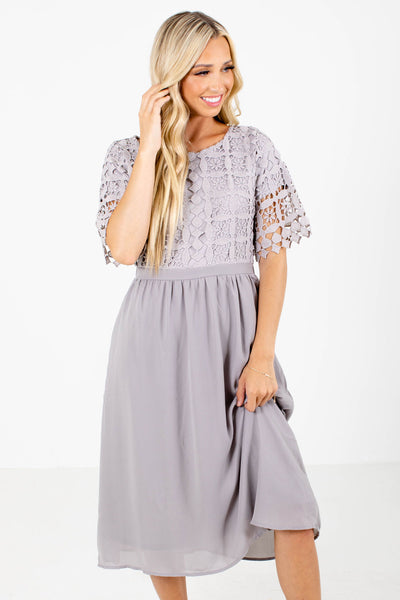 Gray Crochet Lace Bodice Boutique Midi Dresses for Women