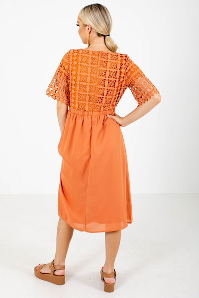 Women's Orange High-Quality Boutique Midi Dress