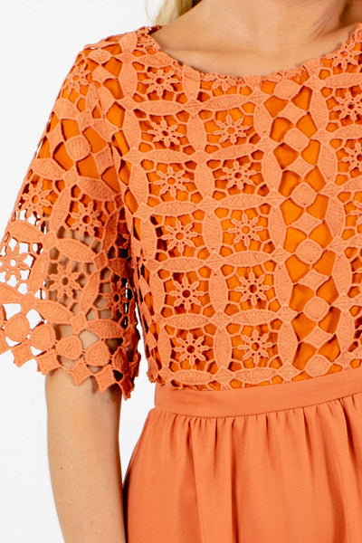 Orange Cute and Comfortable Boutqiue Midi Dresses for Women