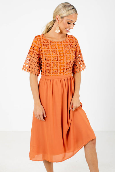 Orange Fully Lined Boutqiue Midi Dresses for Women