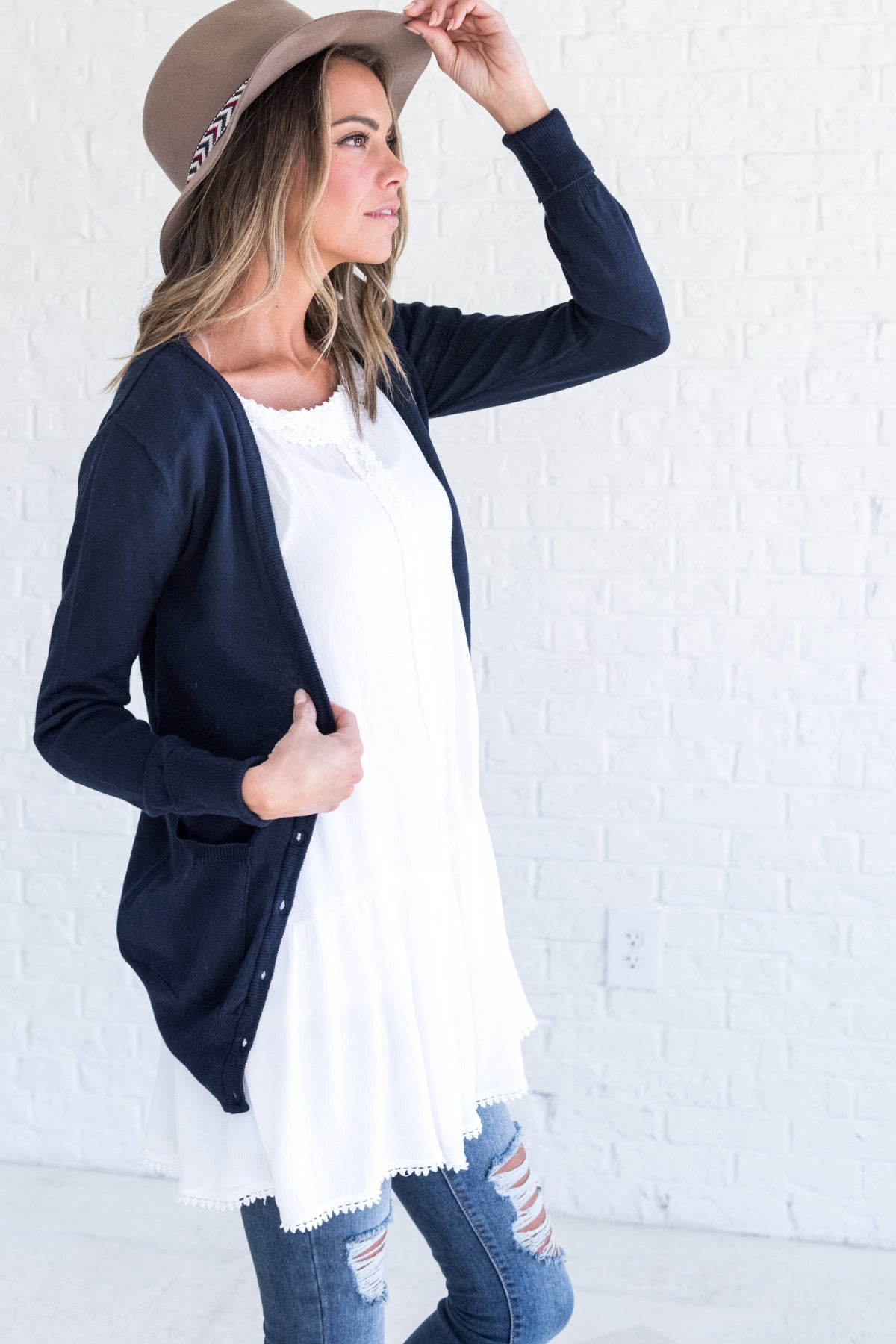 BE You Navy Boyfriend Cardigan