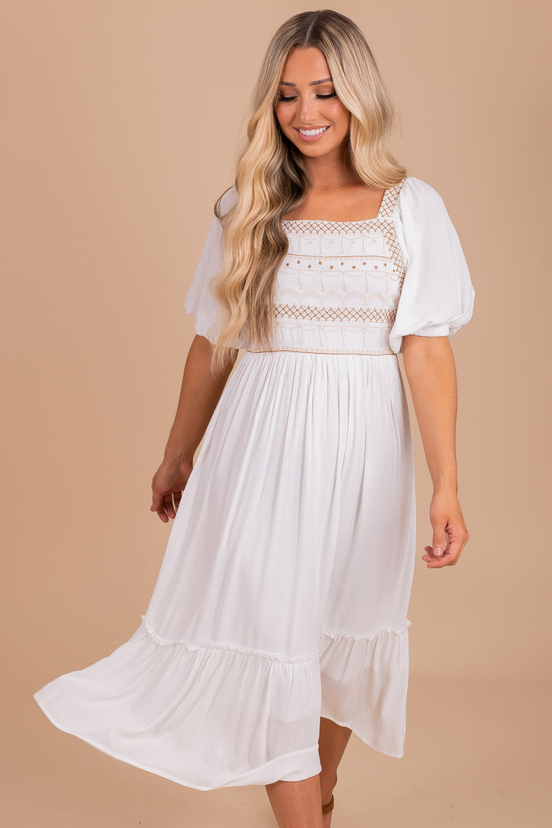 Romantic Muse Embroidered Midi Dress - White