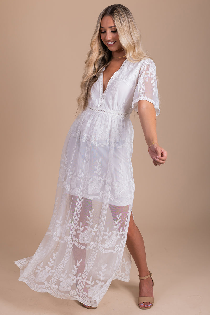 Light My Fire White Lace Maxi Dress