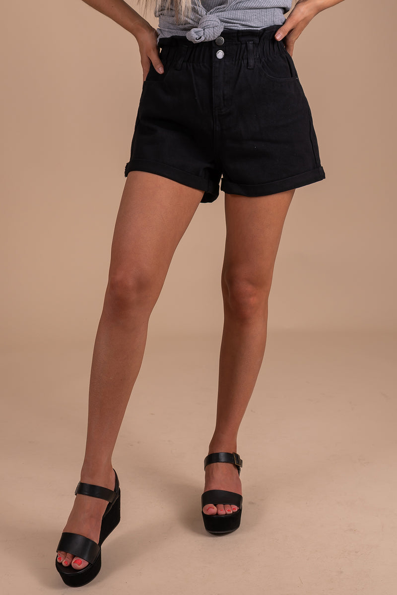 Go With It Paperbag Denim Shorts - Black