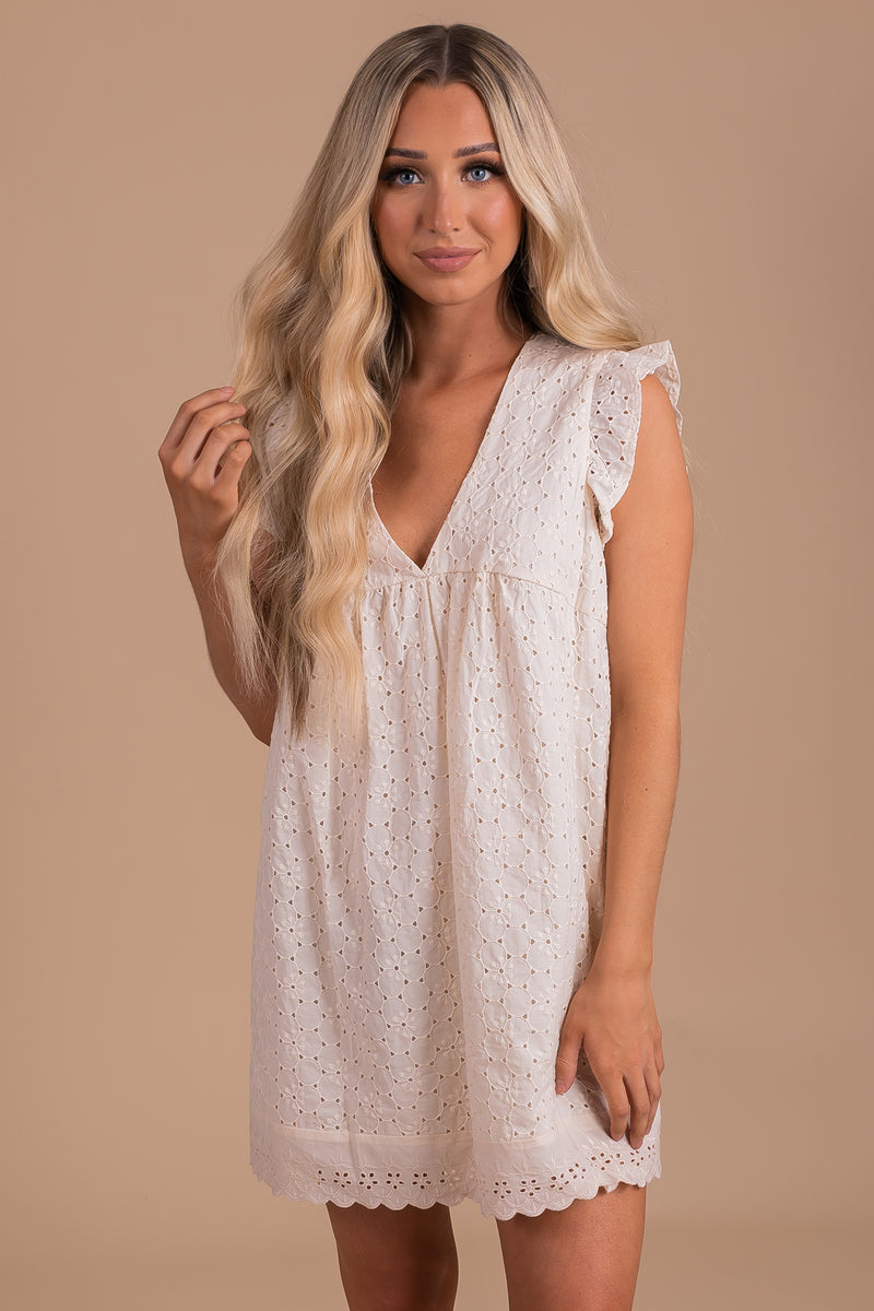 Darling Details Eyelet Mini Dress