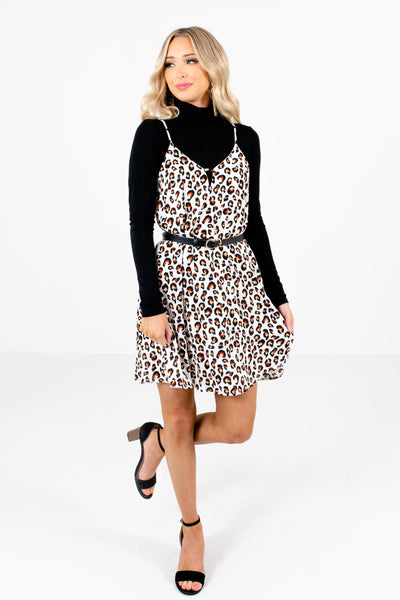 White Brown and Black Leopard Print Pattern Boutique Dresses for Women