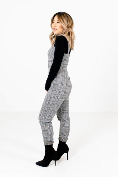 Women's Gray Black and Mustard Cute Plaid Boutique Jumpsuit