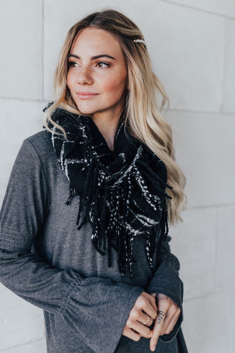 Made With Love Black Plaid Scarf