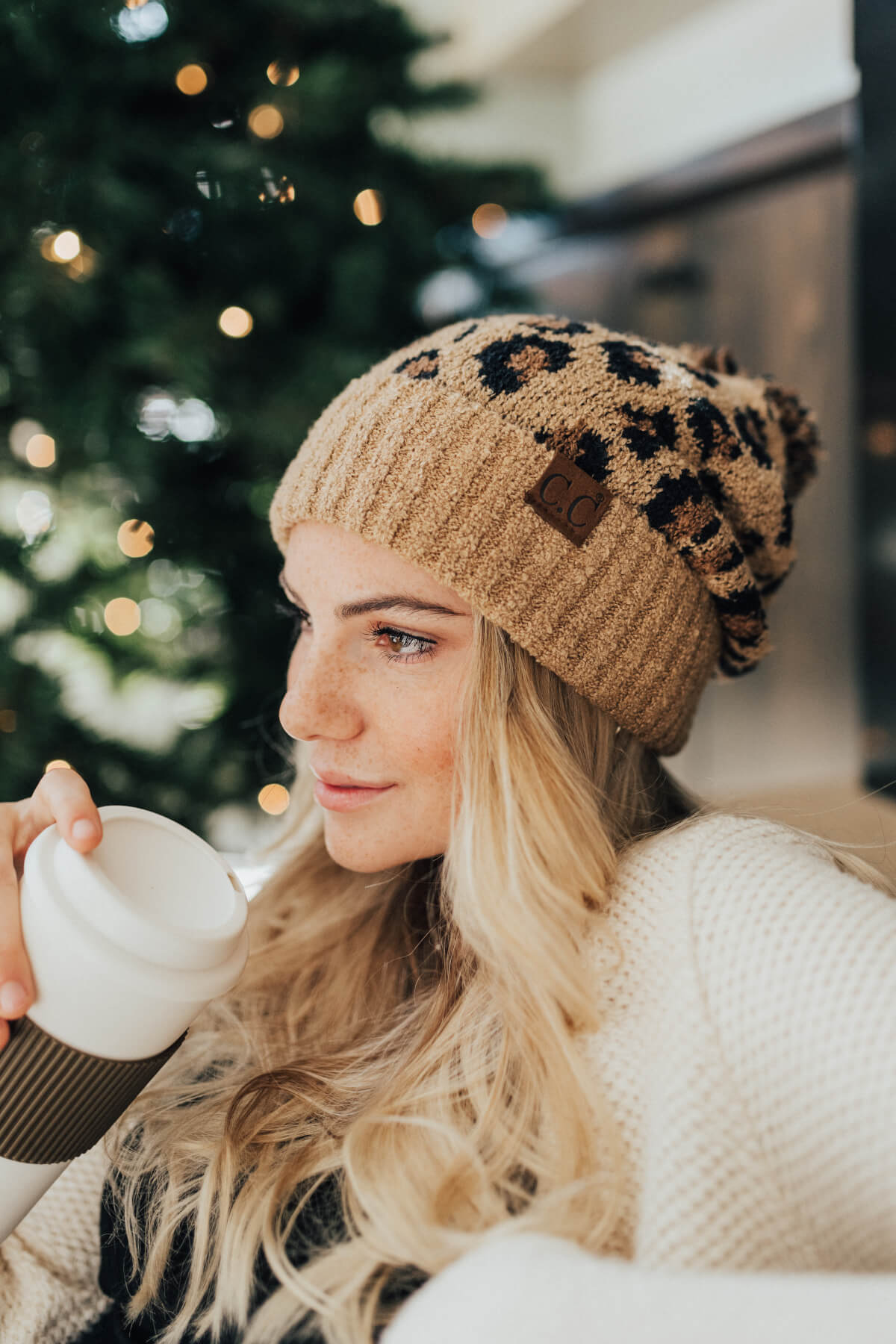 Tan Brown and Black Leopard Print Boutique Beanies for Women