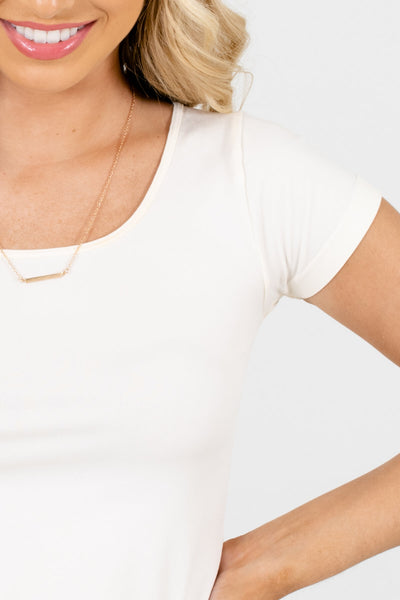 Cream Long Fit Tees for Women