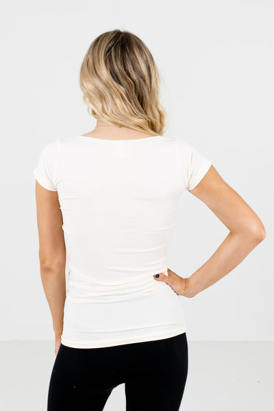 Cream Long Fit Seamless Tee