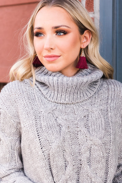 Light Heather Gray Warm and Cozy Boutique Sweaters for Women