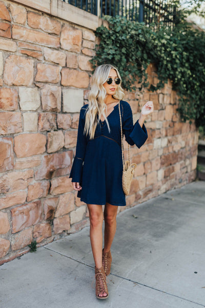 Navy Blue Polka Dot Textured Ladder Lace Boho Mini Dresses for Women