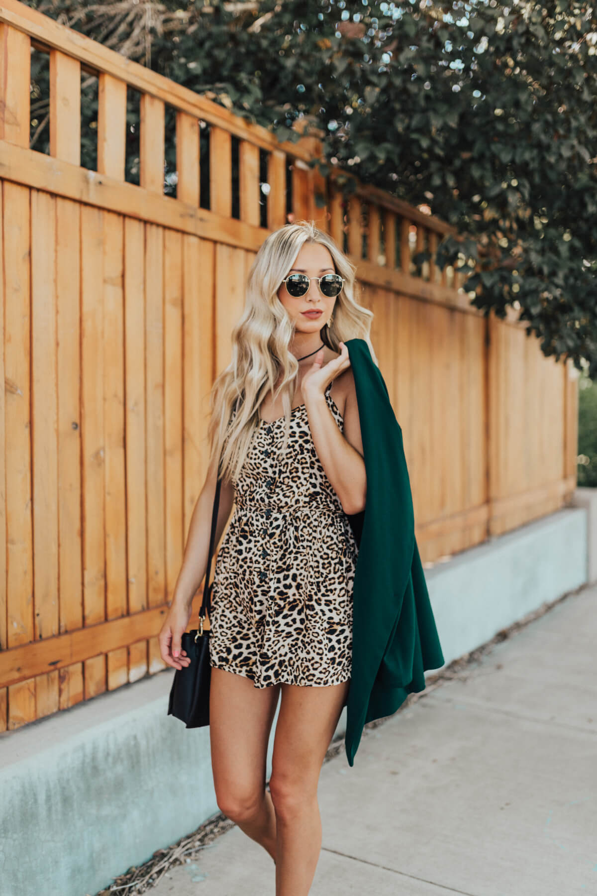 Beige Brown and Black Leopard Print Boutique Rompers for Women