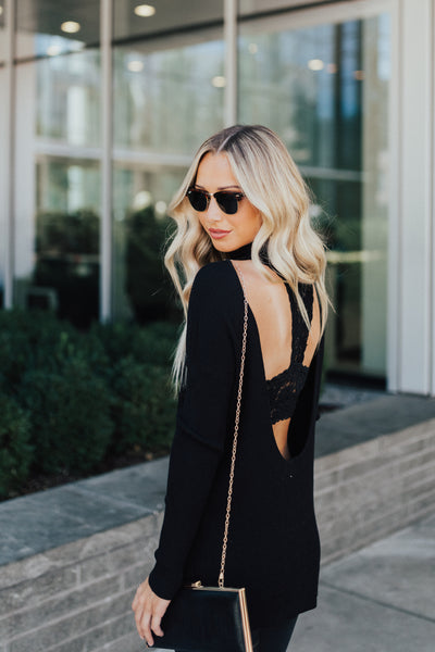 Black Open Back Style Boutique Sweaters for Women
