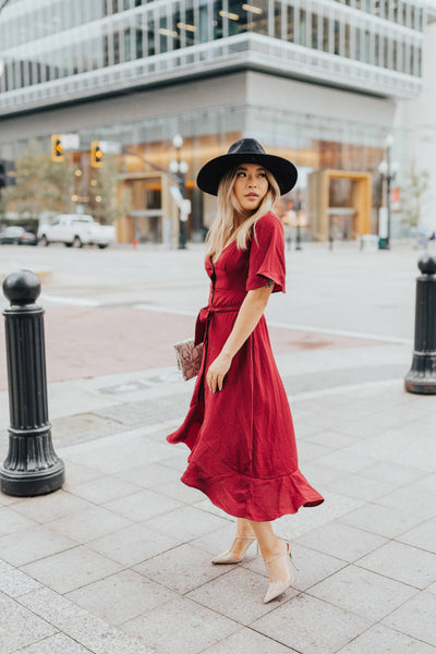Burgundy Red Button-Up Front Boutique Midi Length Dresses for Women