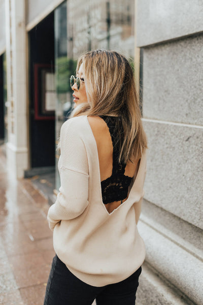 Beige Open Back Style Boutique Sweaters for Women
