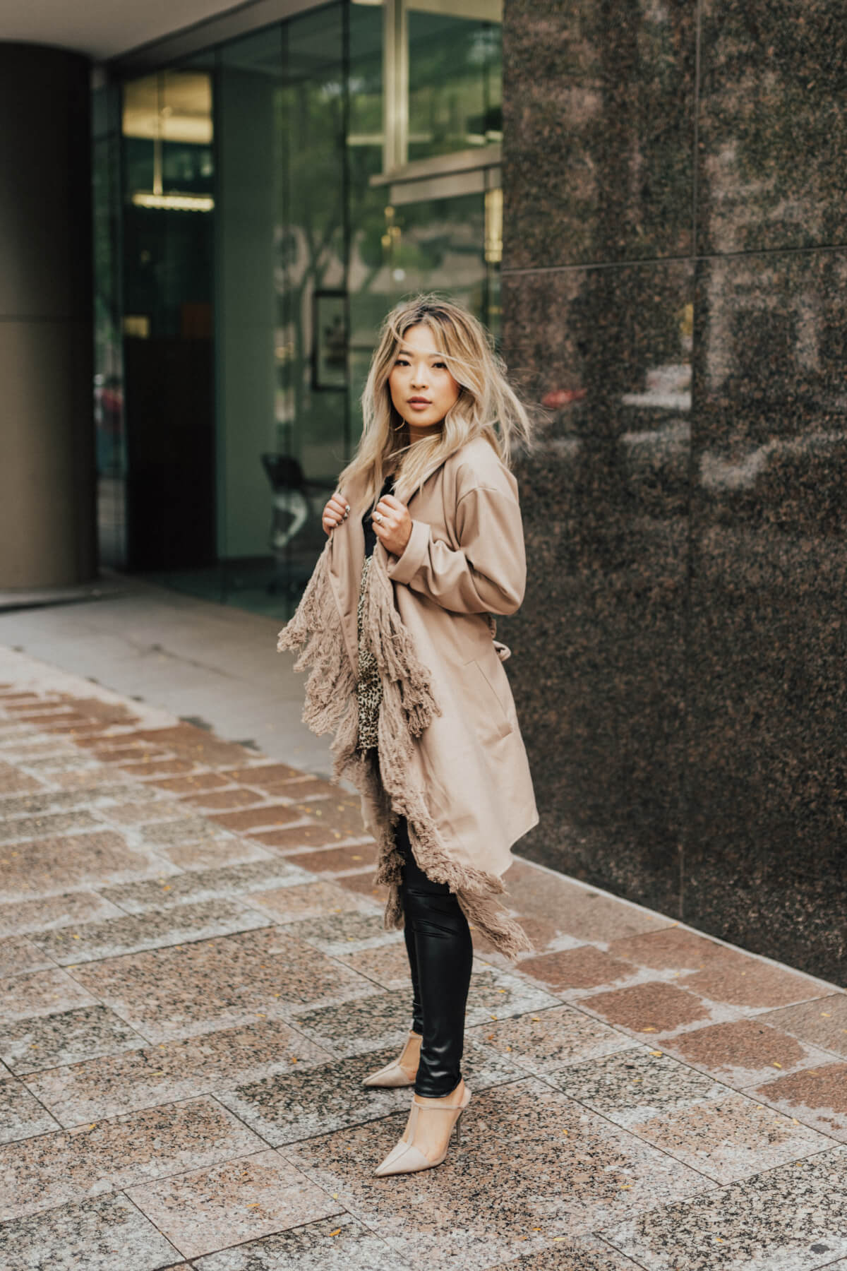 Taupe Brown Fringe Accented Boutique Coats for Women