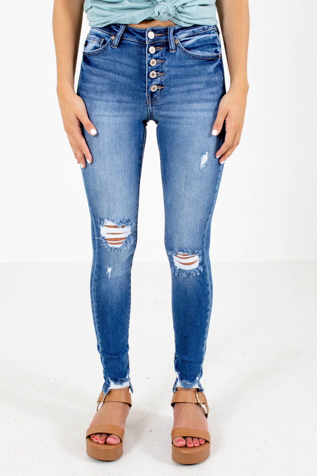 Blue Button-Up Front Boutique Skinny Jeans for Women