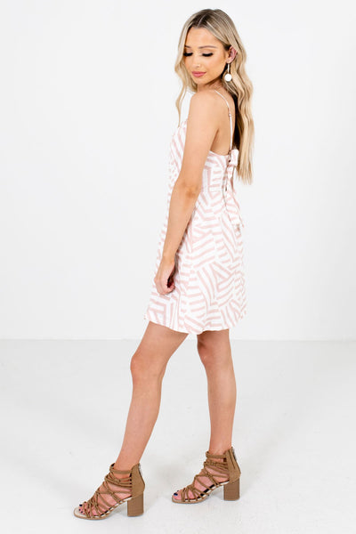 Light Rose Pink Boutique Mini Dress with Adjustable Straps for Women