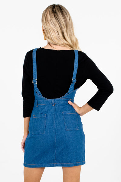Dark Wash Denim Blue Button-Up Pinafore Mini Dresses for Women