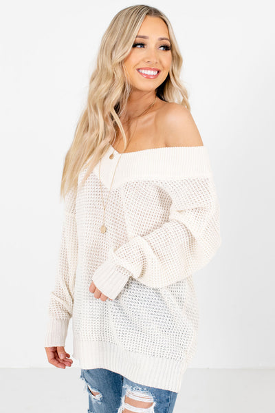 Cream Long Sleeve Boutique Knit Sweaters for Women
