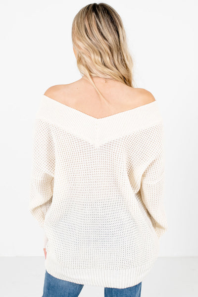 Women's Cream V-Neckline Boutique Knit Sweater