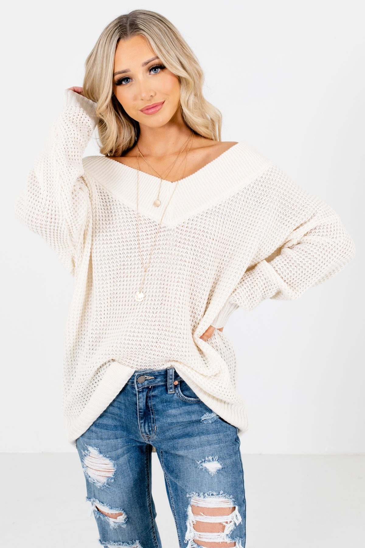 Cream High-Quality Knit Material Boutique Sweaters for Women