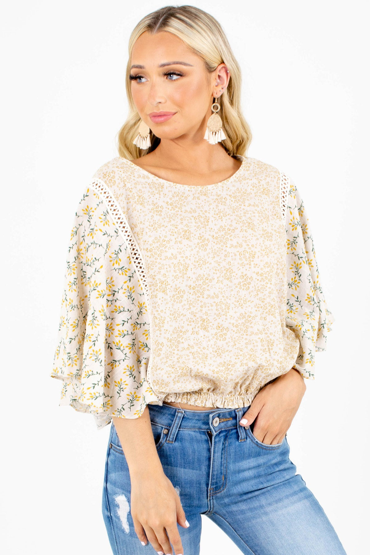 Beige Floral Patterned Boutique Tops for Women