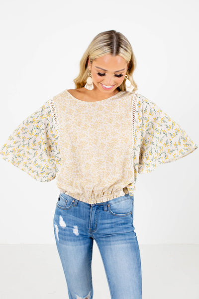Beige Cute and Comfortable Boutique Tops for Women