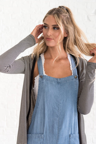 blue denim boutique overalls with front pockets