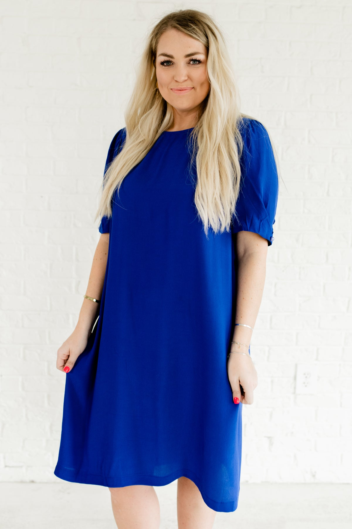Back in Business Royal Blue Knee-Length Dress