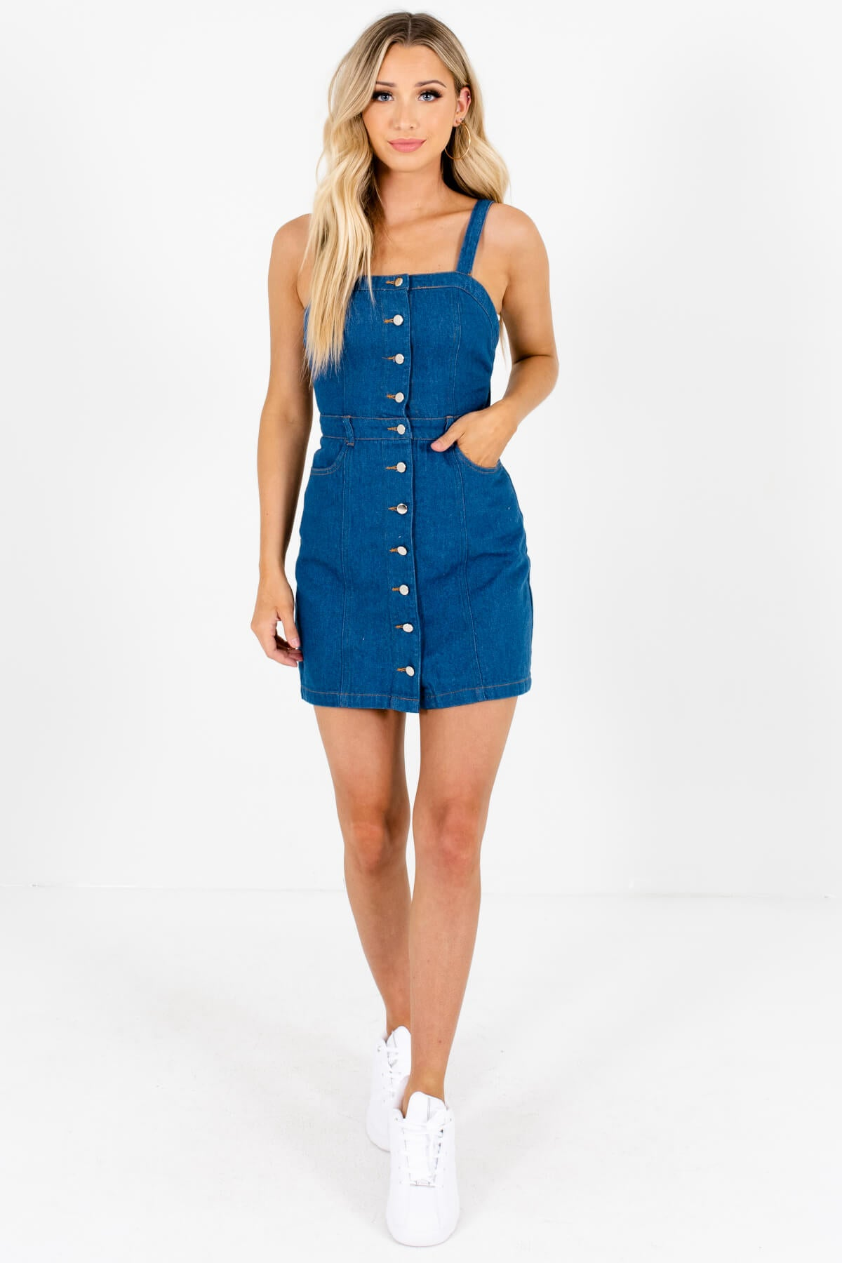 great look special buy exceptional range of colors Back in Session Denim Blue Mini Dress