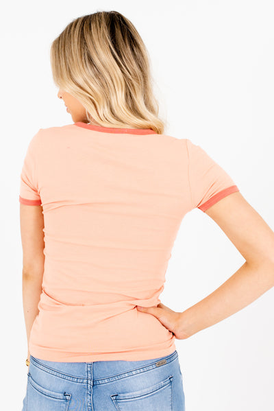 Women's Peach Pink High-Quality Boutique T Shirts