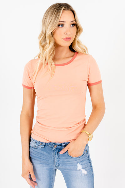 Women's Peach Pink Cute and Comfortable Boutique T Shirts