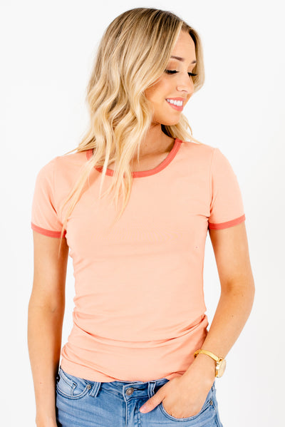 Peach Pink Ringer Style Boutique T Shirts for Women