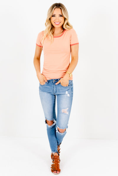 Peach Pink Cute Ringer Style Boutique Tees for Women