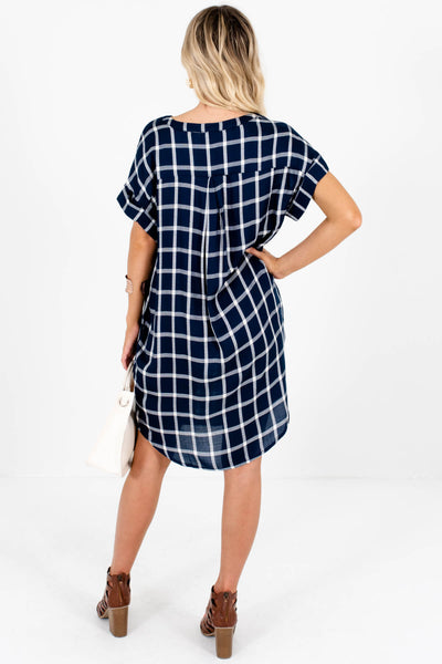 Boutique Navy Blue Plaid Button Up Mini Dresses with Pockets