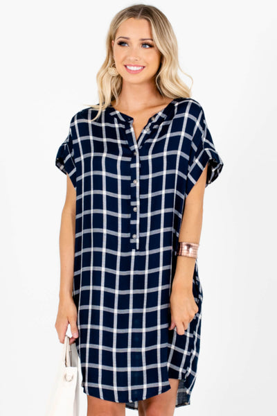 Navy Blue White Plaid Button Up Shirt Mini Dresses with Pockets