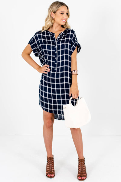 Navy White Plaid Oversized Button Up Shirt Mini Dresses with Pockets