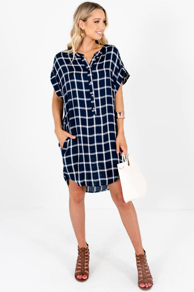 Navy Blue White Plaid Oversized Button-Up Mini Dresses for Women