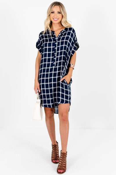 Navy Blue White Plaid Oversized Button Up Mini Dresses with Pockets