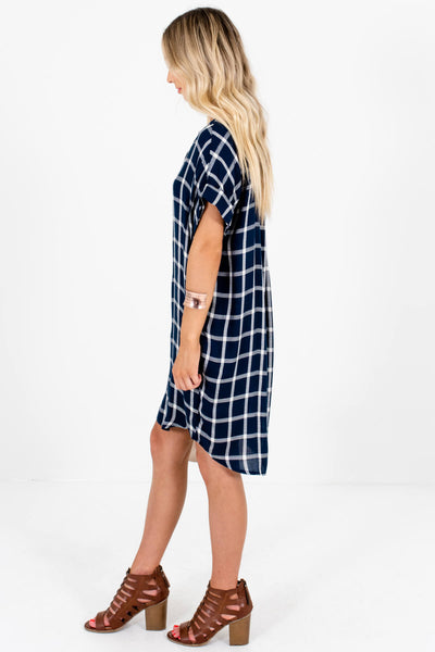 Navy Blue Plaid Oversized Button Up Mini Dresses for Women