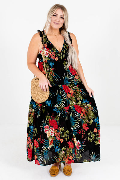 Black Multicolored Tropical Floral Patterned Boutique Maxi Dresses for Women